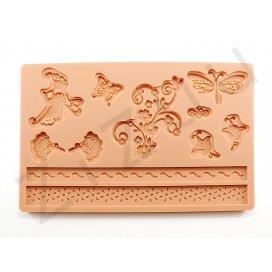 """Stampo molding in silicone 9 decori """"Natura"""" per cake design"""