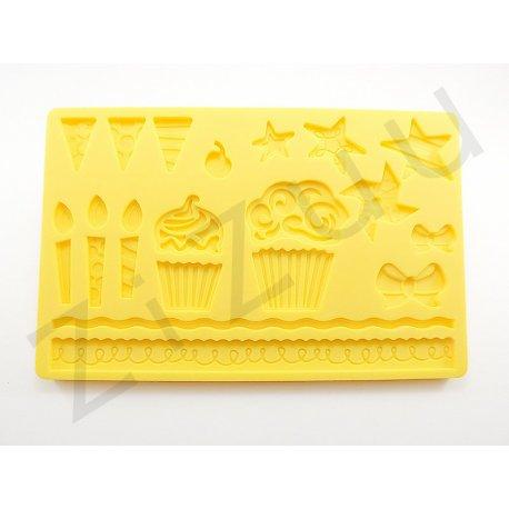Stampo 17 decori festa per dolci in silicone