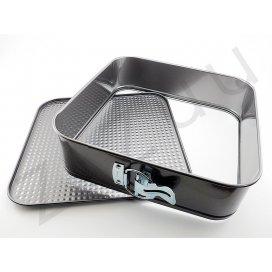 Tortiera apribile: stampo a cerniera quadrato in metallo antiaderente (26cm)