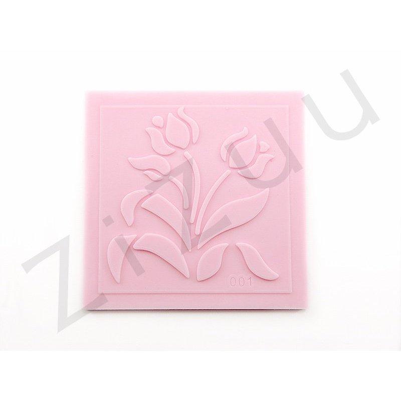 Timbro stampo a rilievo in silicone tulipani per cake - Accessori per cake design ...