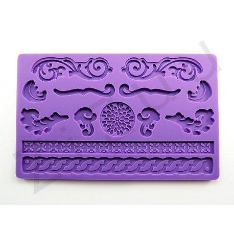 """Stampo molding in silicone 13 decori """"Fantasia"""" per cake design"""