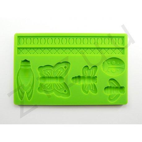 """Stampo molding in silicone 7 decori """"Insetti"""" per cake design"""