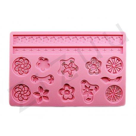 """Stampo molding in silicone 14 decori """"Fantasia e Fiori"""" per cake design"""