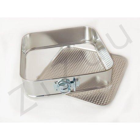Tortiera quadrata in metallo con cerniera apribile (26cm)