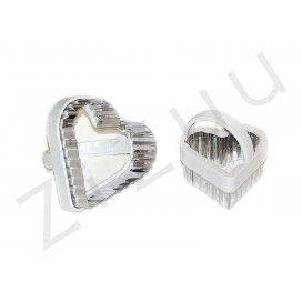 Stampi coppapasta tagliabiscotti a cuore festonato, con manico, in acciaio INOX (2pz)