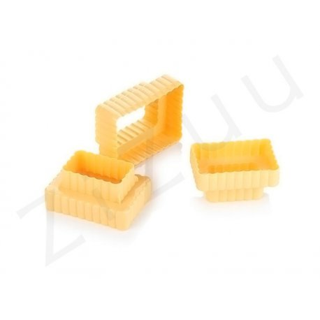 Stampi coppapasta tagliabiscotti rettangolari festonati, 6 misure (3pz)