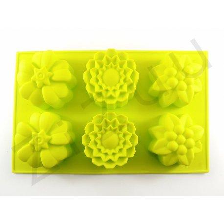 Stampo 6 posti in silicone con 6 fiori