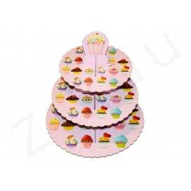 Cupcakes stand: Alzata per cupcake a 3 piani, in cartone decorato