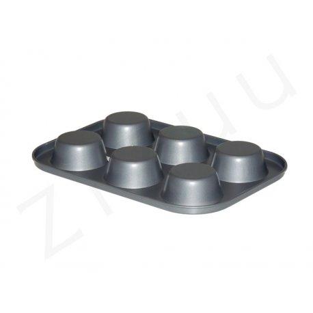 Teglia per 6 muffin in acciaio antiaderente - qualità professionale Pro-Q