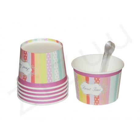 """Coppette per gelato a """"righe colorate larghe"""", con cucchiaini (6 pz)"""