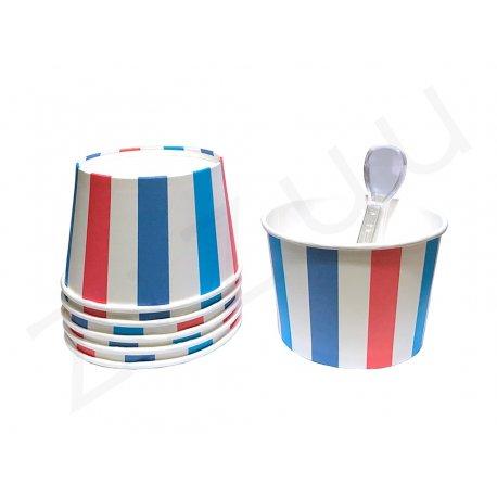 Coppette per gelato a righe verticali, con cucchiaini